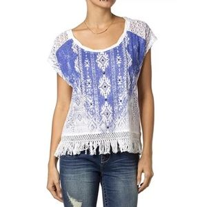Miss Me Living Dream Fringe And Lace Top